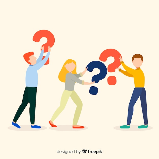 Flat people holding question marks background Free Vector