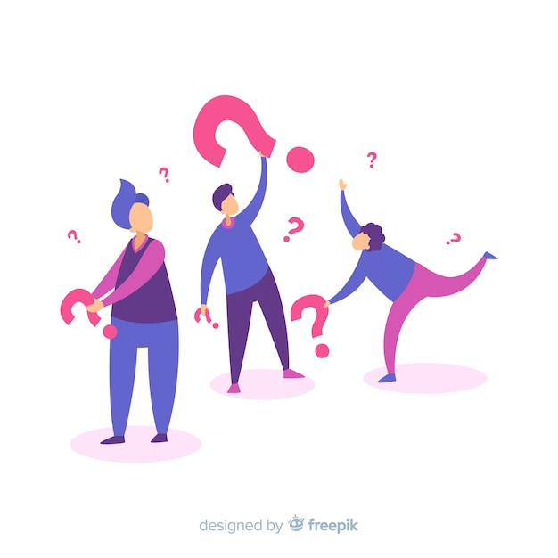 Flat people holding question marks Free Vector