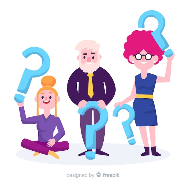 Flat People Holding Question Marks Vector Free Download