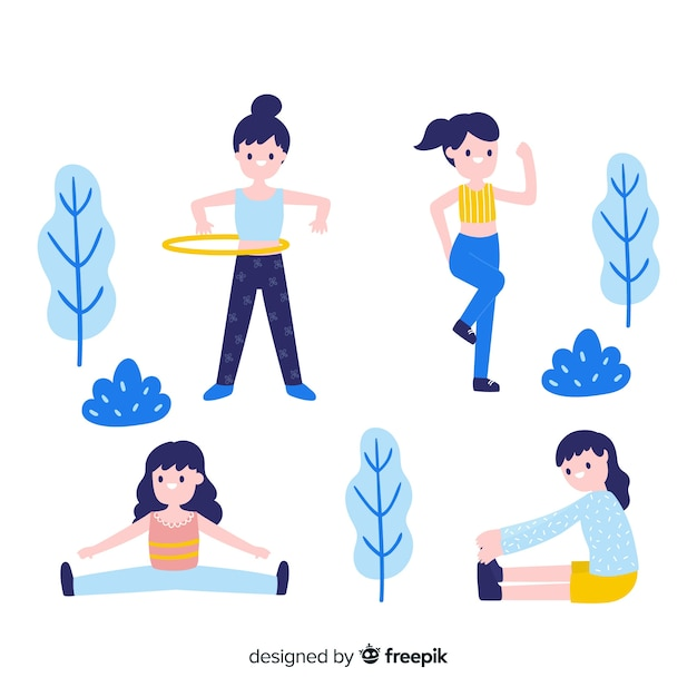 Flat people in the park collection Free Vector