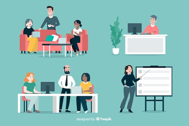 Flat people scenes at office Free Vector