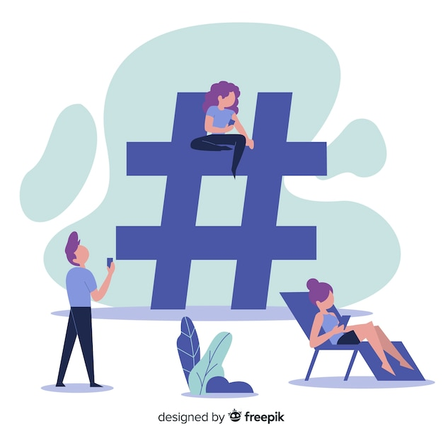 Flat people social media hashtag symbol background Free Vector