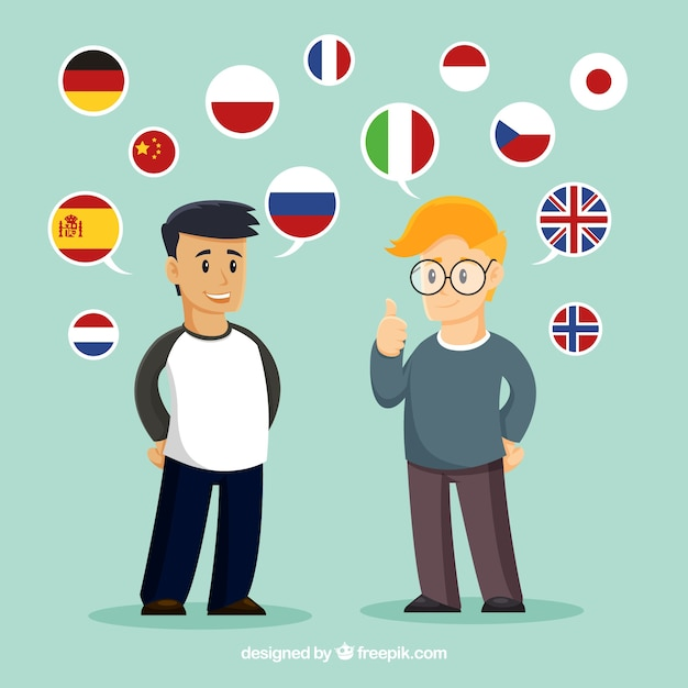 Flat people speaking different languages Free Vector