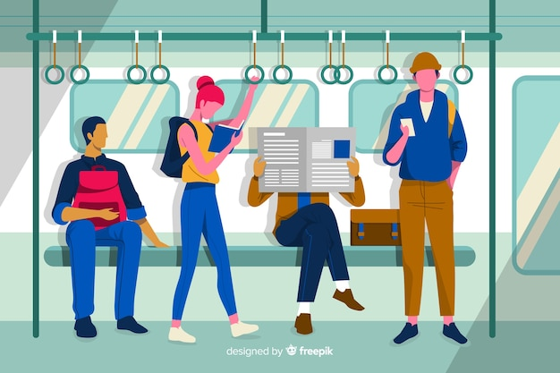 Flat people on the subway Free Vector