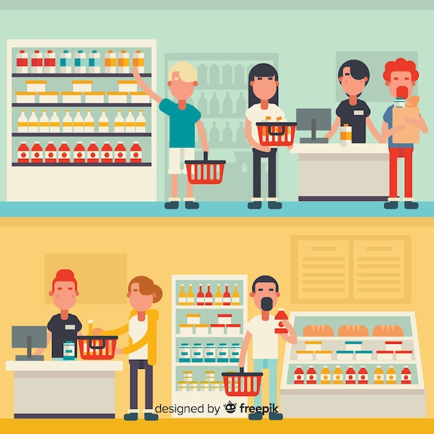 Flat people in the supermarket Free Vector