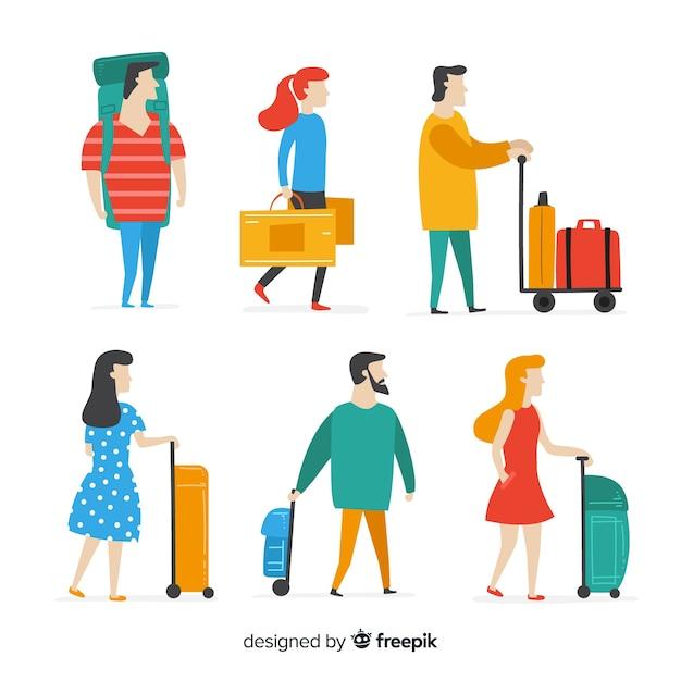 Persone piatte che viaggiano in diverse situazioni Vettore gratuito