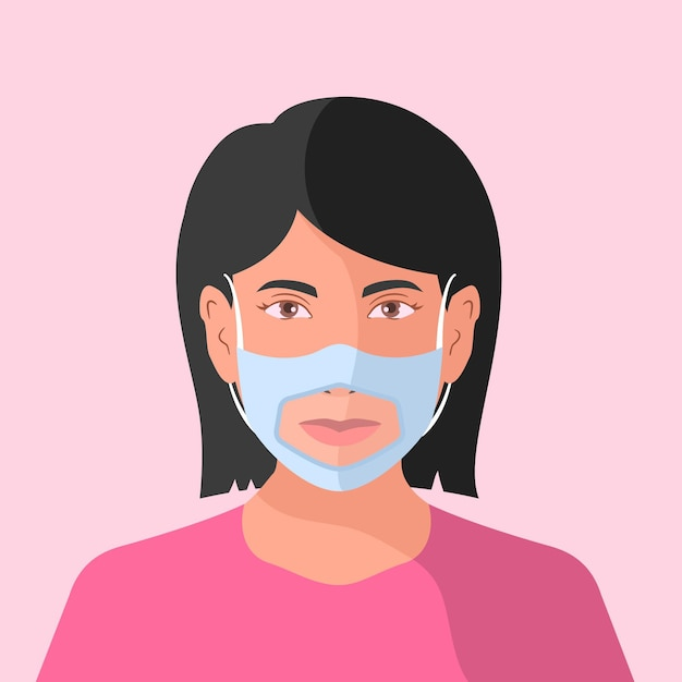 Flat people with clear face mask for deaf Free Vector