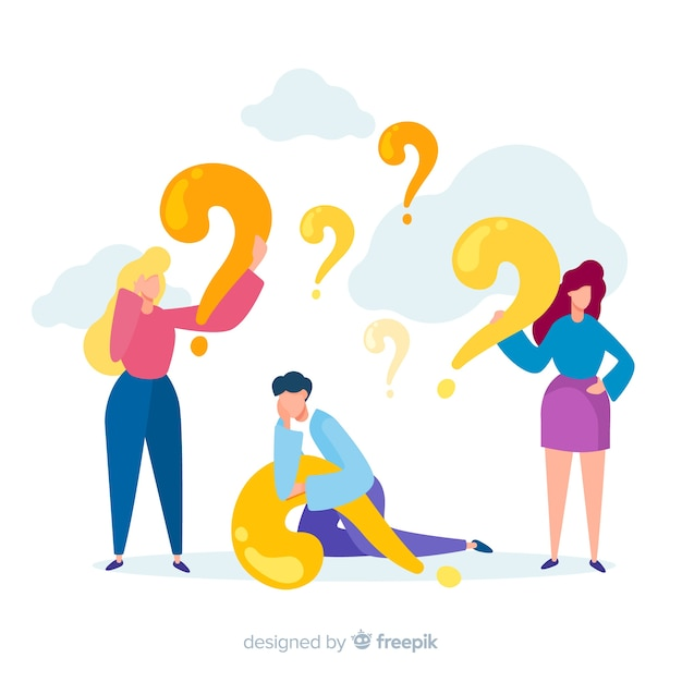 Flat people with question marks background Free Vector