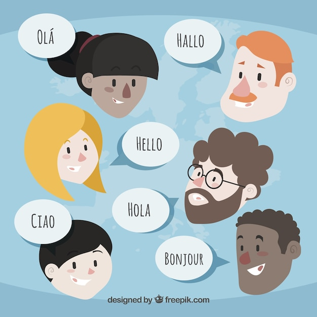 Flat people with speech bubbles in different languages Free Vector