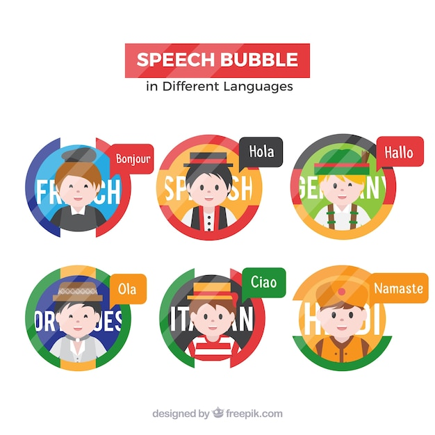 Flat people with speech bubbles in different\ languages