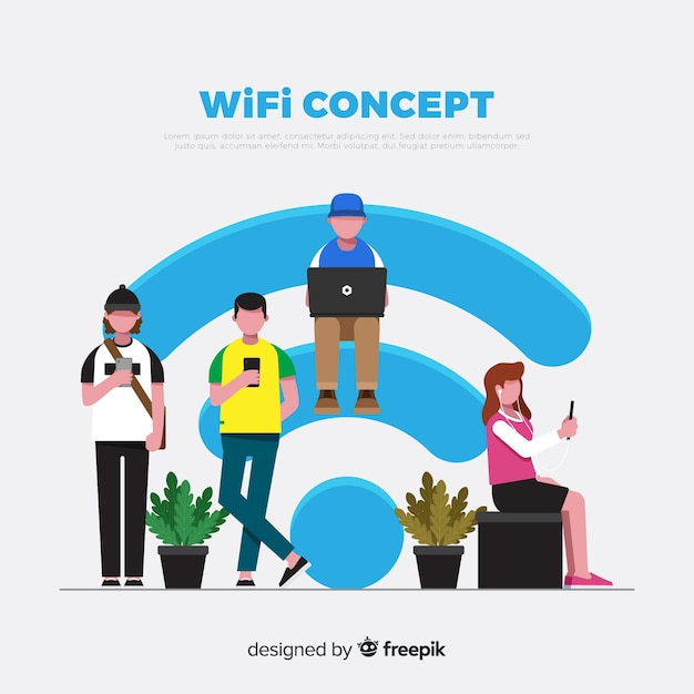 Flat people with wifi sign background Free Vector