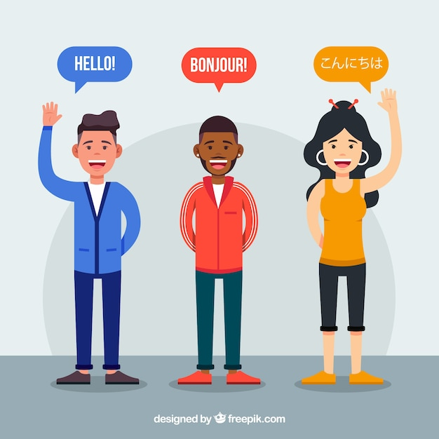 Flat people with words in different languages Free Vector