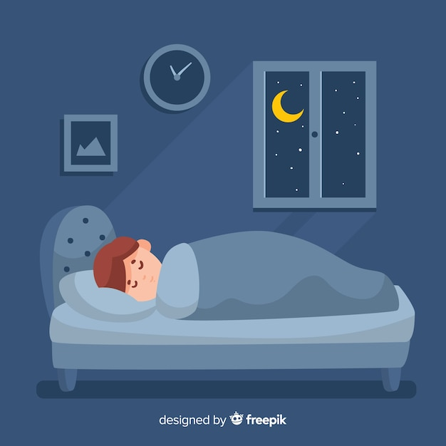 Flat person sleeping in bed background Free Vector