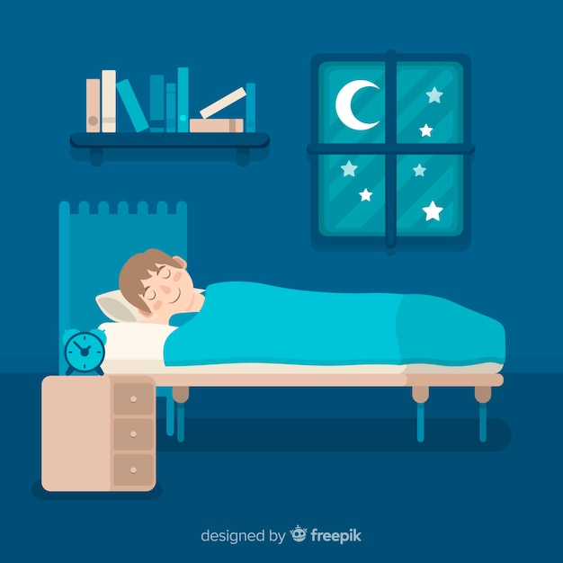 Flat person sleeping in bed Free Vector