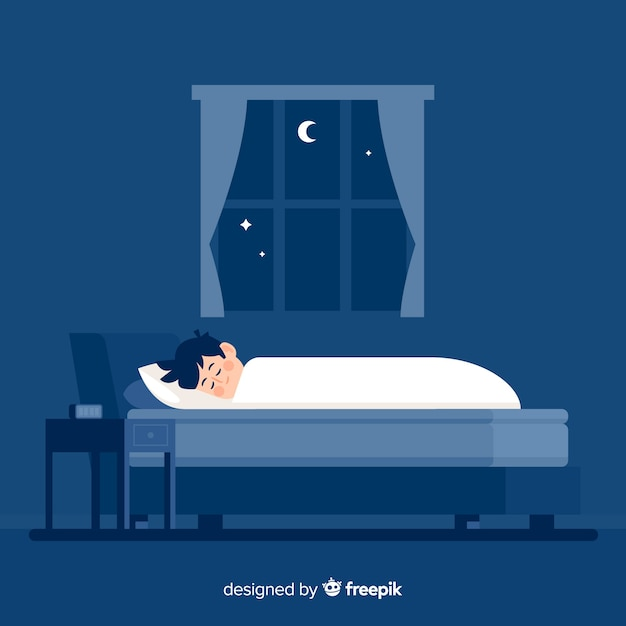 Flat person sleeping at night in bed background Free Vector