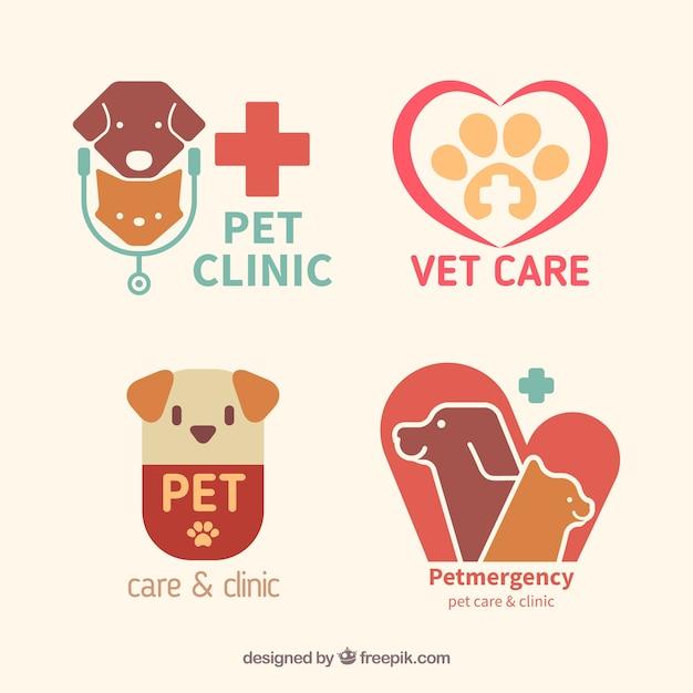 Flat pet clinic logos Free Vector