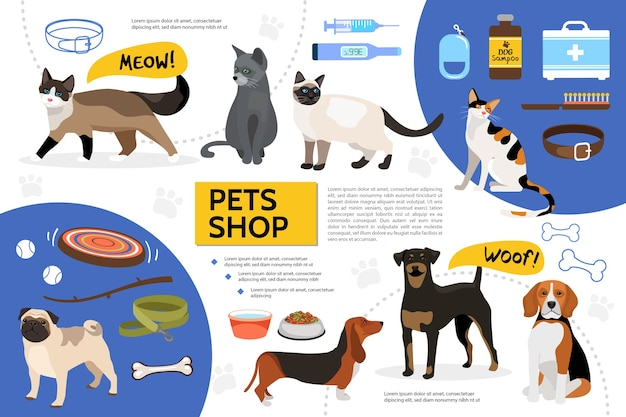 Flat pet shop infographic template Free Vector