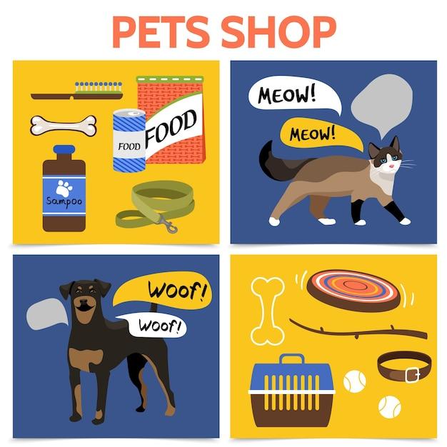 Flat pet shop square concept Free Vector