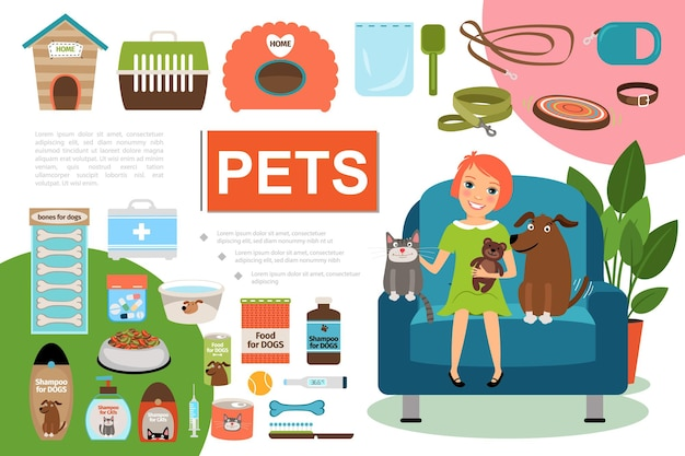 Flat pets composition with girl cat and dog sitting in armchair illustration Free Vector