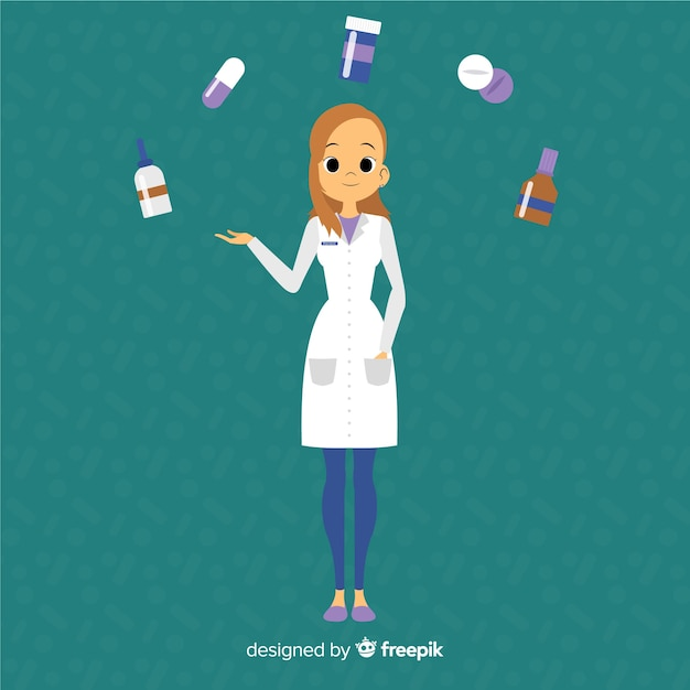 Flat pharmacist attending customers background Free Vector