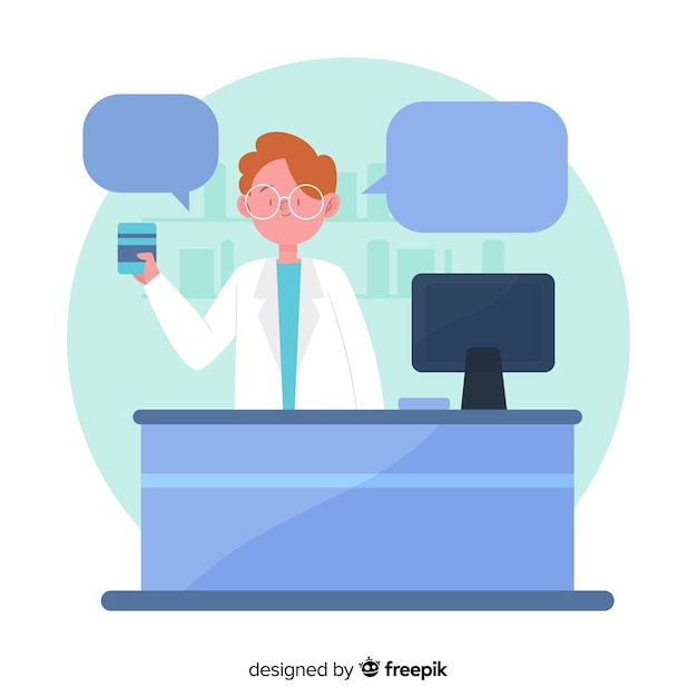 Flat pharmacist with speech bubbles Free Vector
