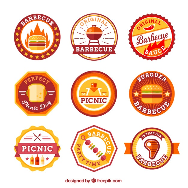Flat picnic and bbq stickers