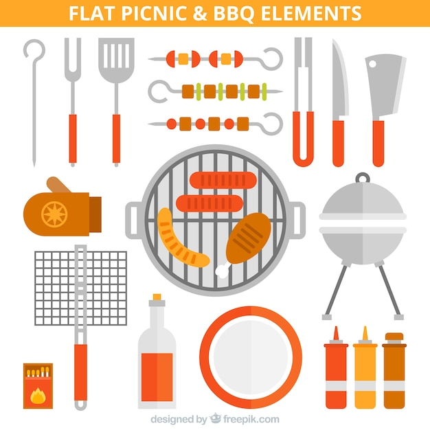 Flat picnic and bbq equipment Free Vector