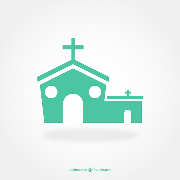 Flat pictogram design of church Free Vector