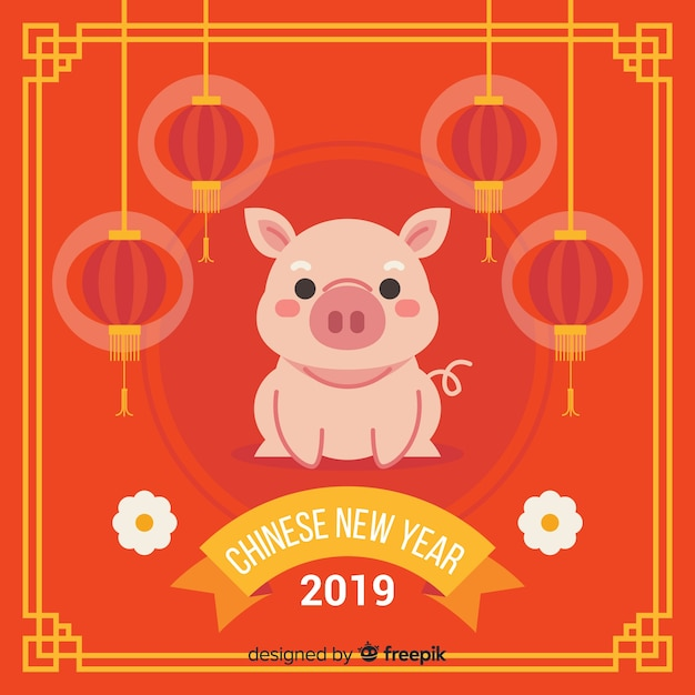 Flat pig chinese new year background Free Vector