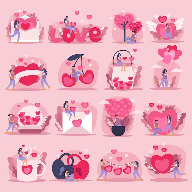 Flat pink love couple icon set or stickers with little and big hearts symbols of feelings and romantic couple illustration Free Vector