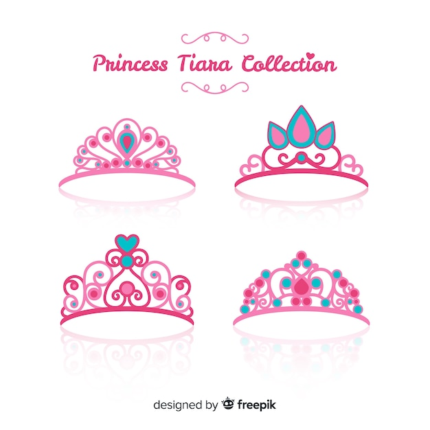 Flat pink princess tiara collection Free Vector