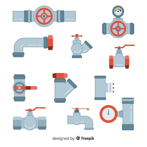 Flat pipe and valves collection Free Vector