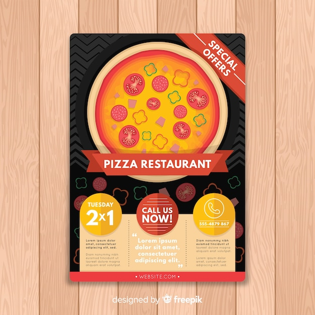 flat pizza brochure template free vector