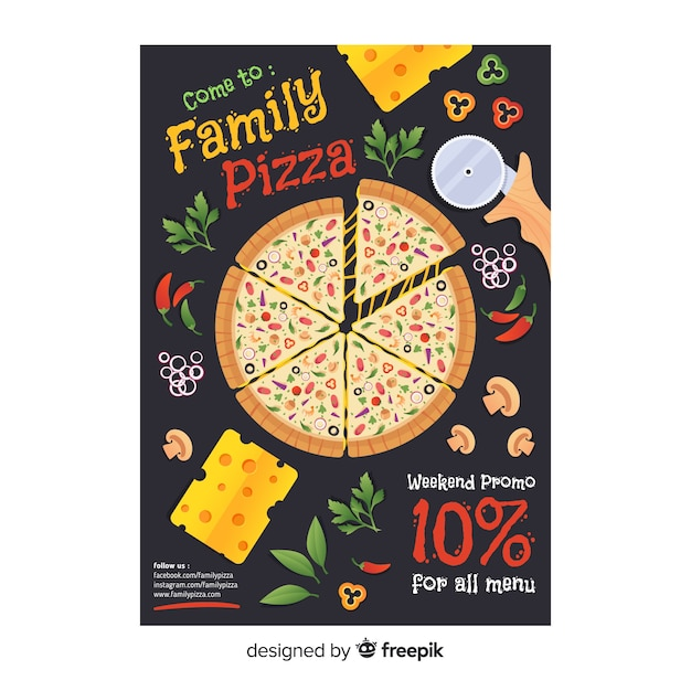 Flat pizza flyer template Free Vector