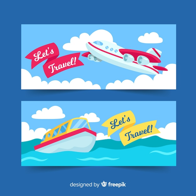 Flat plane and ship banner template Free Vector