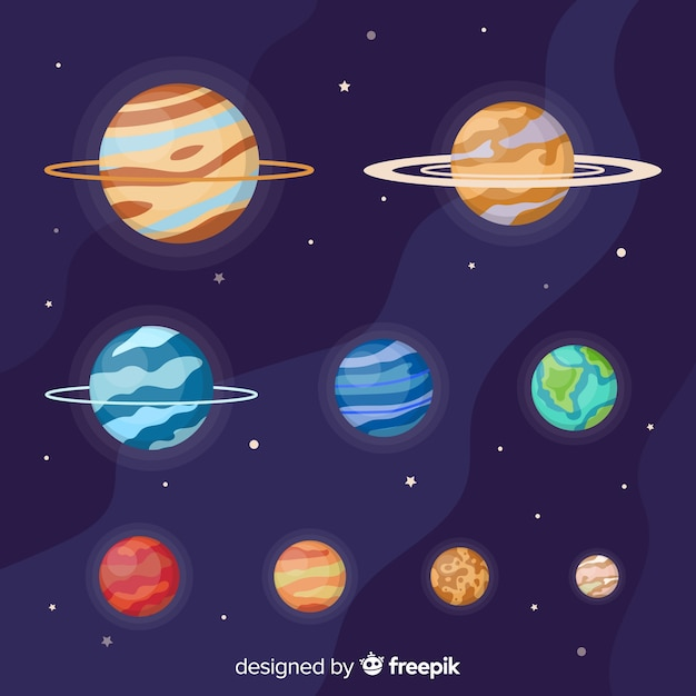 Flat planet collection of the milky way Free Vector