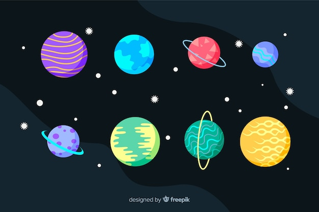 Flat planet collection and stars Free Vector