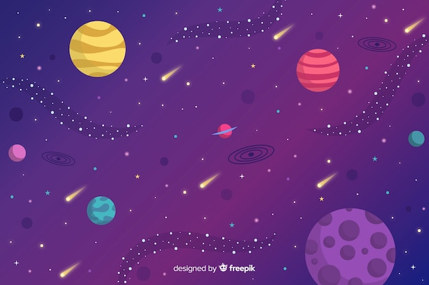 Flat planets and asteroids background Free Vector