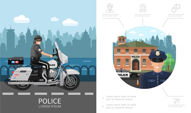Flat police colorful concept with policeman riding motorcycle on road and emergency siren handcuffs handgun icons Free Vector