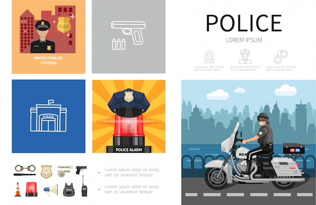 Flat police infographic concept with policeman riding motorcycle hat on siren handcuffs baton sheriff badge handgun megaphone helmet radio set icons Free Vector
