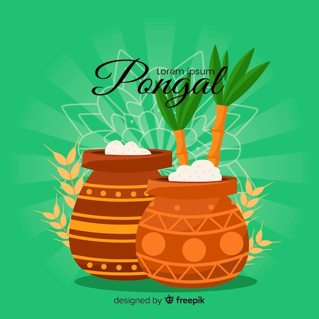 Flat pongal background Free Vector