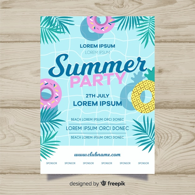 Flat pool summer party poster Free Vector