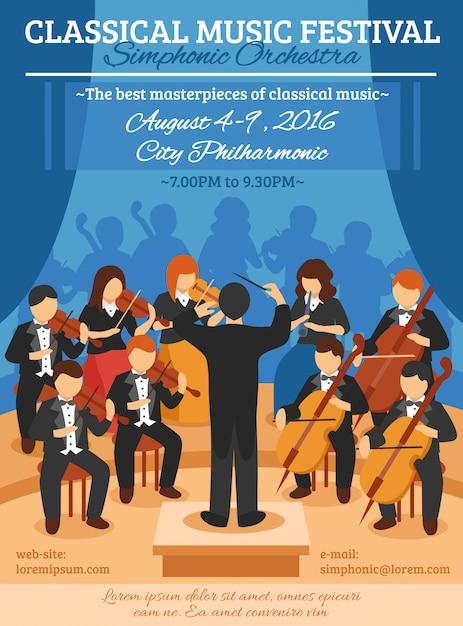 Фестиваль классической музыки flat poster Бесплатные векторы