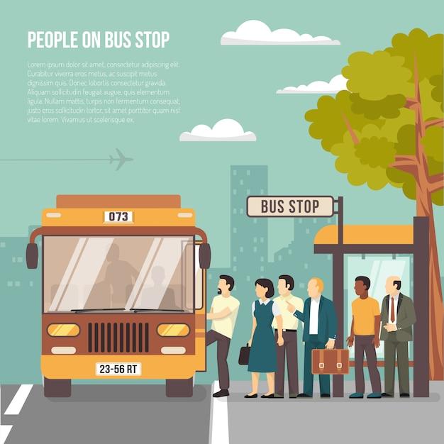 Городская автобусная остановка flat poster Бесплатные векторы