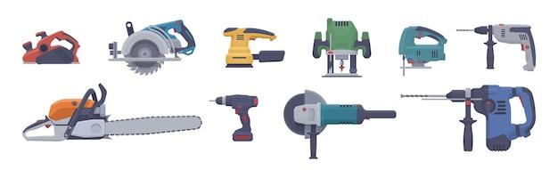 Набор плоских электроинструментов. изолированные электрические инструменты. иллюстрация. коллекция Premium векторы