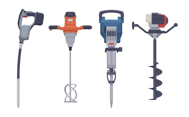 Набор плоских электроинструментов. изолированный вибратор, миксер, отбойный молоток, дрель. иллюстрация. коллекция Premium векторы