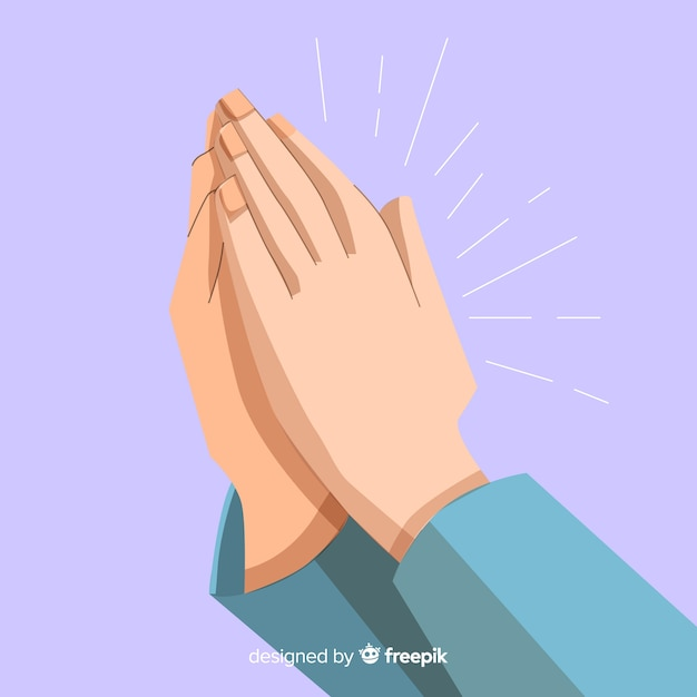 Flat praying hands background Free Vector