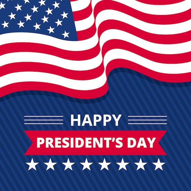 Плоский президентский день с американским флагом Бесплатные векторы