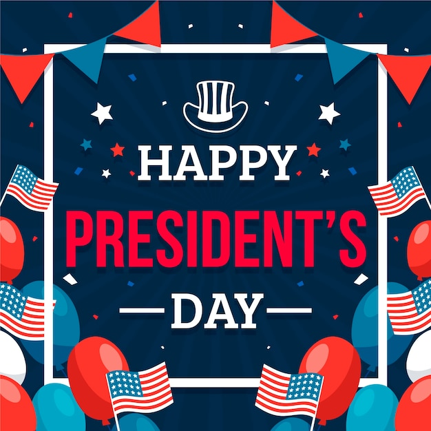 Flat president's day Free Vector