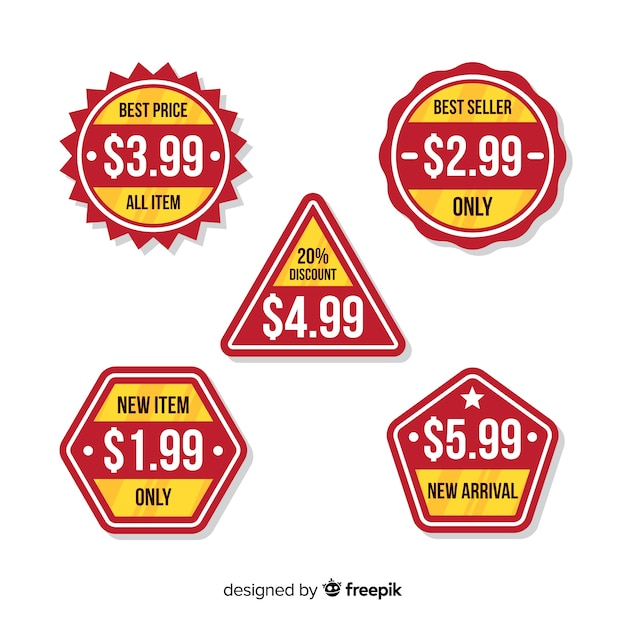 Flat price list badge collection Free Vector